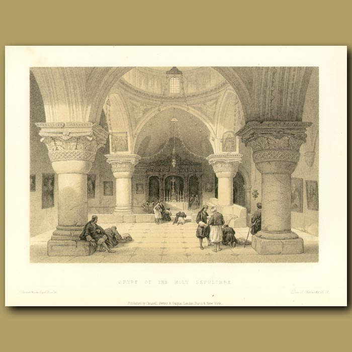 Antique print. Crypt Of The Holy Sepulchre