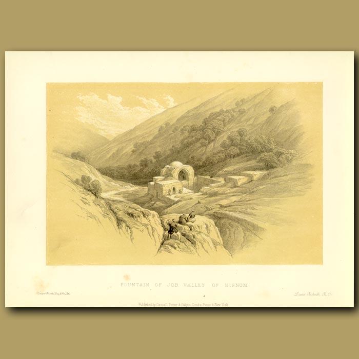 Antique print. Fountain Of Job Valley Of Hinmon