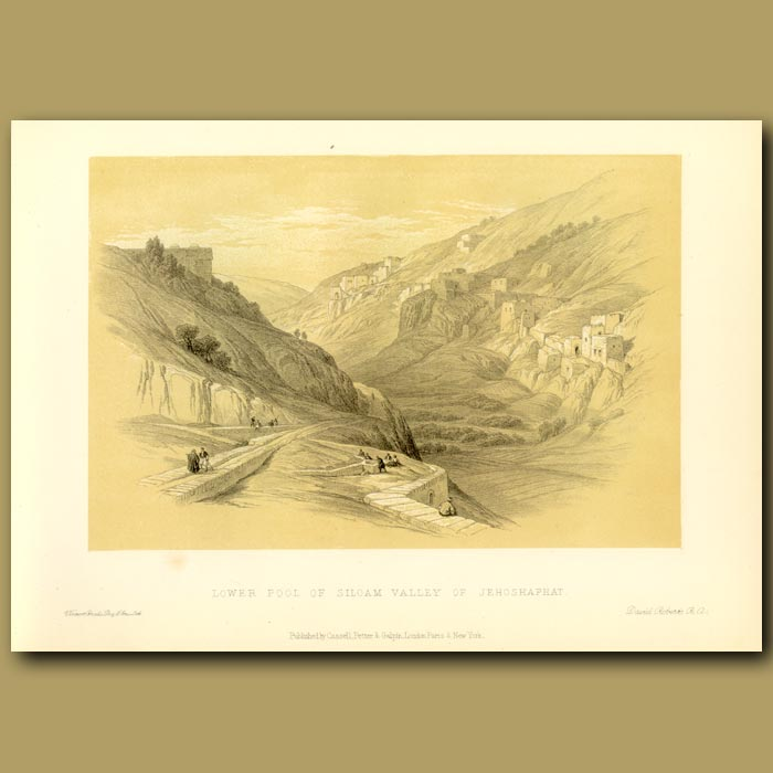 Antique print. Lower Pool Of Siloam, Valley Of Jehoshphat