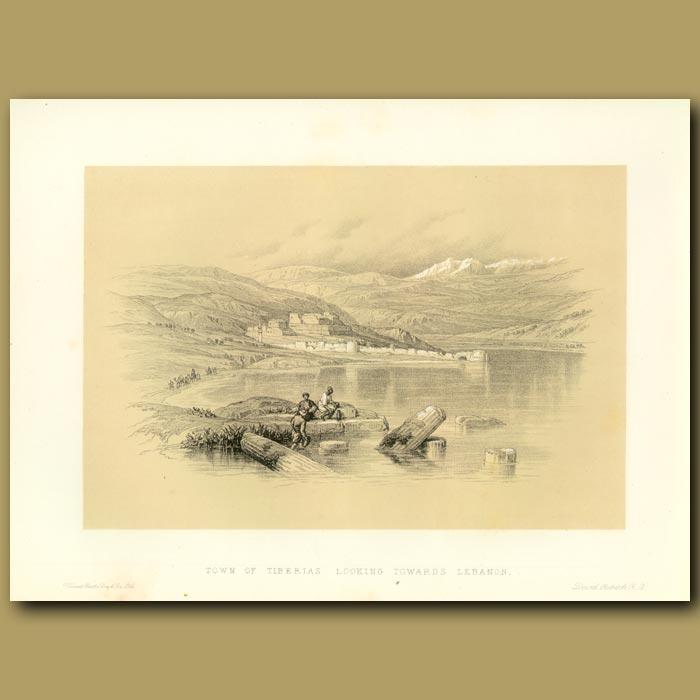 Antique print. Town Of Tiberias Looking Towards Lebanon