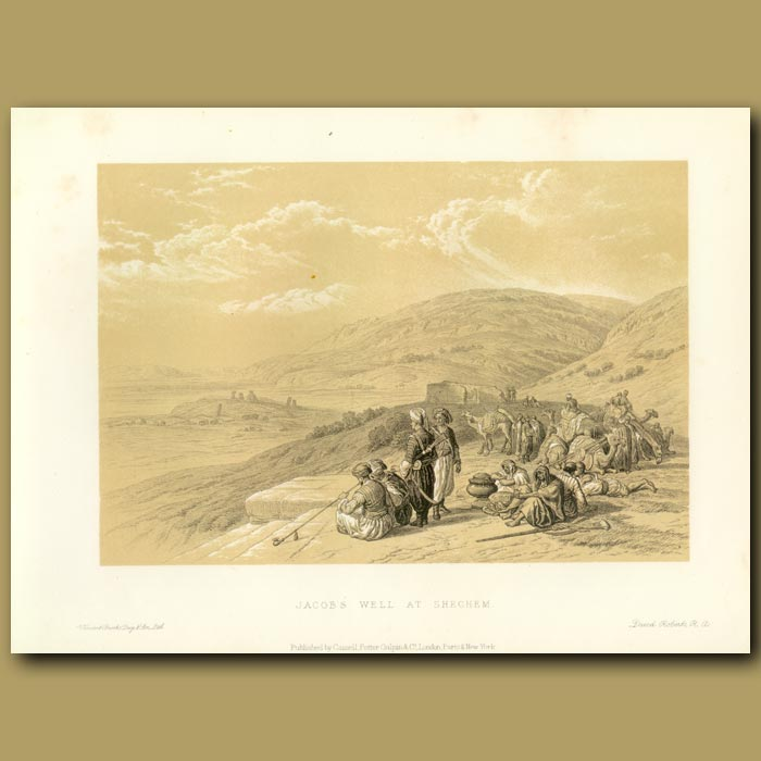 Antique print. Jacob's Well At Shechem