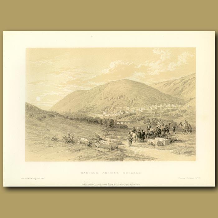 Antique print. Nablous, Ancient Shechem