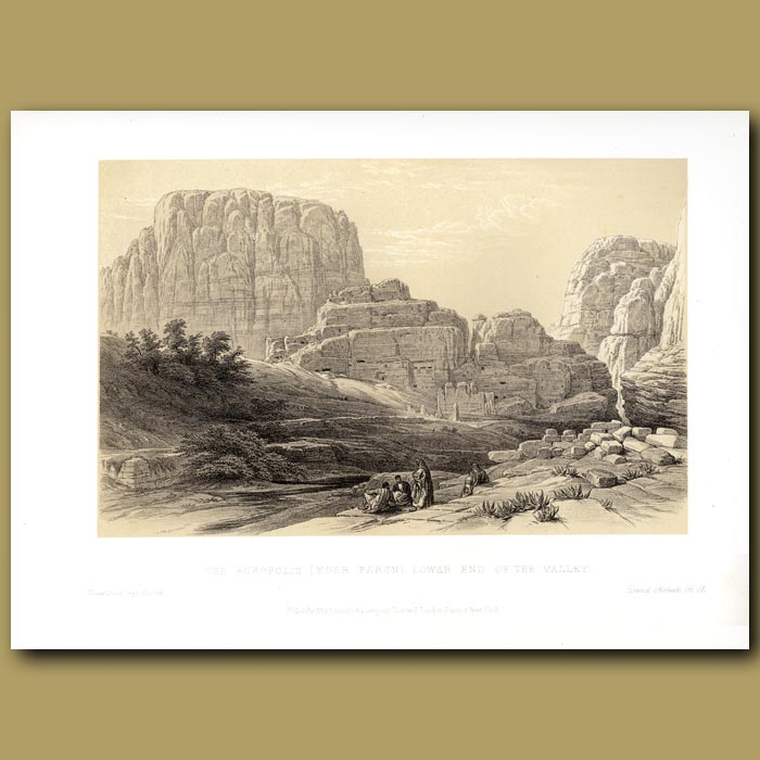 Antique print. The Acropolis (Kusr Faron), Lower End Of Valley