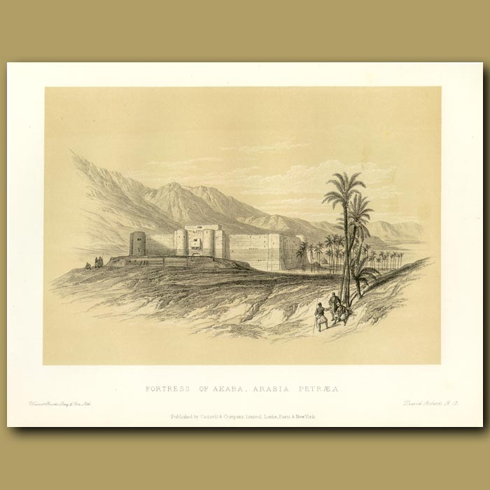 Antique print. Fortress Of Akaba, Arabia Petreae
