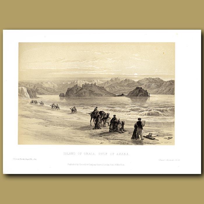 Antique print. Island Of Graia, Gulf Of Akaba