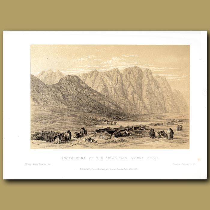 Antique print. Encampment Of The Oulad Said, Mt Sinai