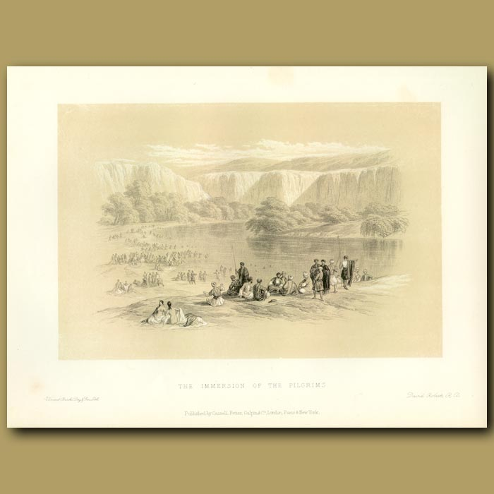 Antique print. The Immersion Of The Pilgrims