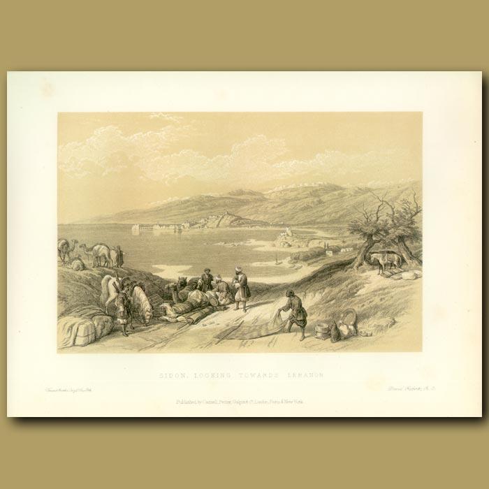 Antique print. Sidon. Looking Towards Lebanon
