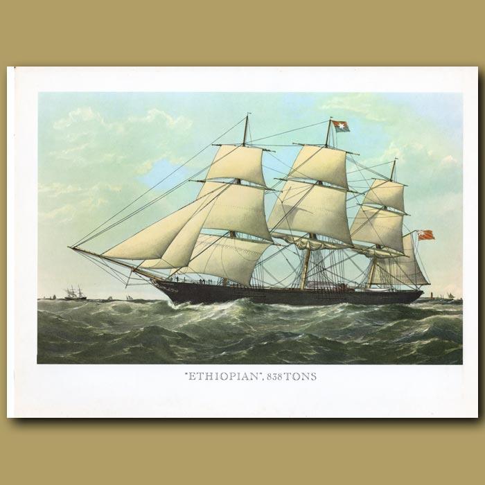 Antique print. Clipper Ship Ethiopian