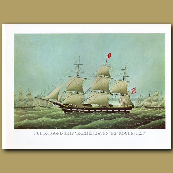 Antique print. Full Rigged Ship