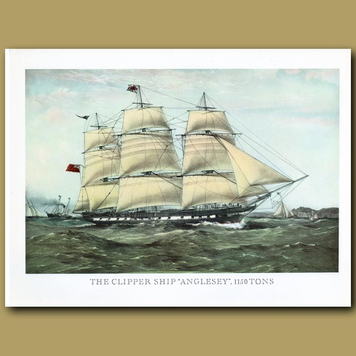 Antique print. Clipper Ship Anglesey