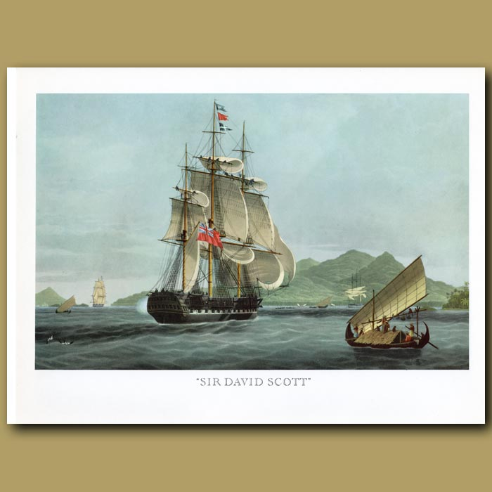 Antique print. East Indiaman Ship