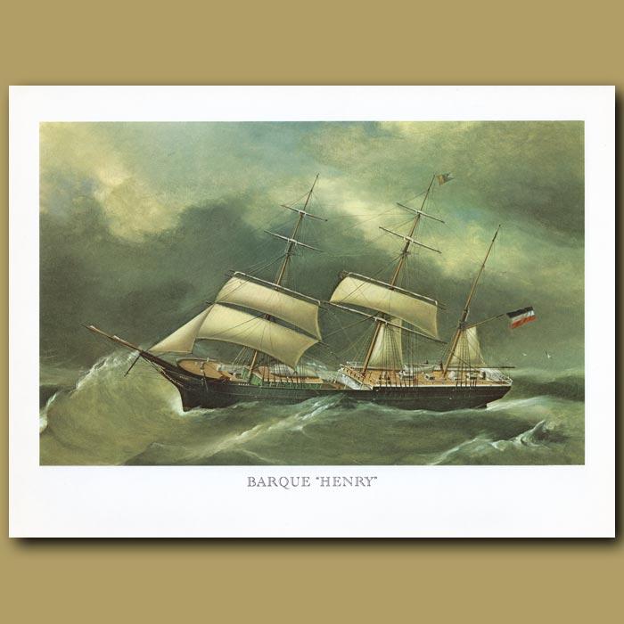 Antique print. Barque Ship Henry