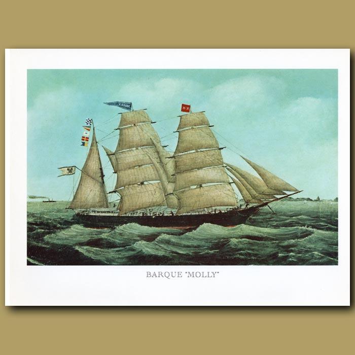 Antique print. Barque Ship Molly
