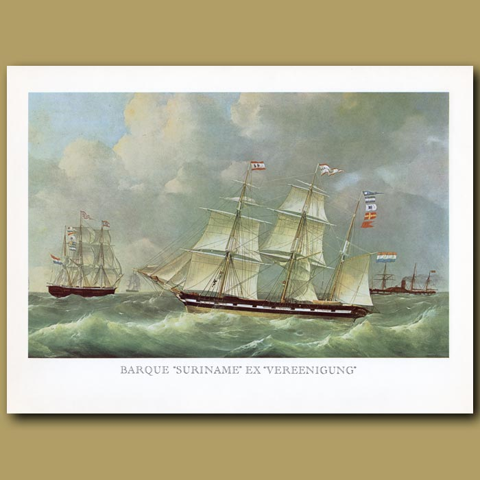 Antique print. Barque Ship Suriname