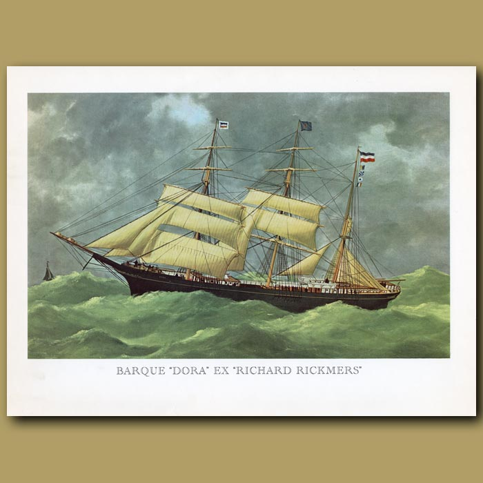 Antique print. Barque Ship Dora