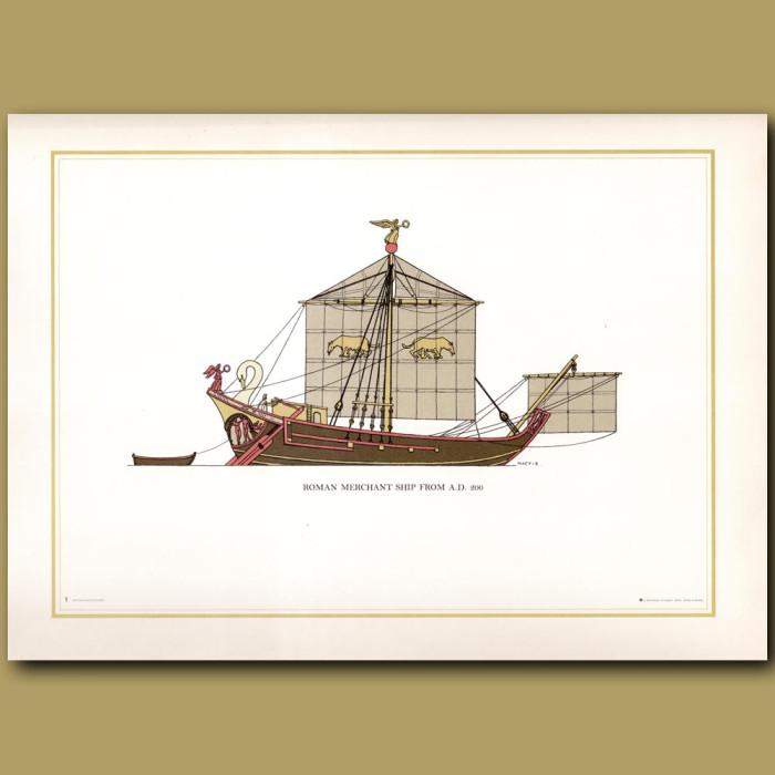 Roman Merchant Ship 200 AD: Genuine antique print for sale.