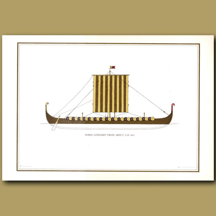 Norse Longship from about AD 900: Genuine antique print for sale.