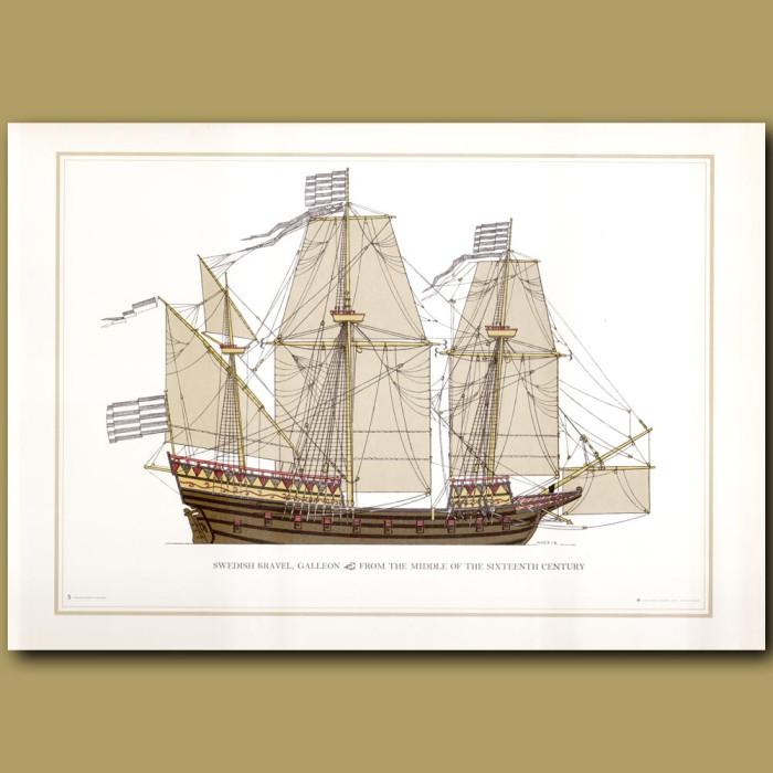 A 16th century Swedish Galleon: Genuine antique print for sale.