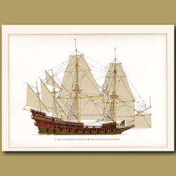 Large 4 masted Dutch armed merchant ship