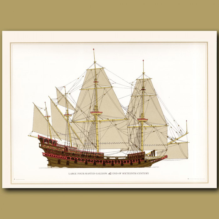 Large 4 masted Dutch armed merchant ship: Genuine antique print for sale.