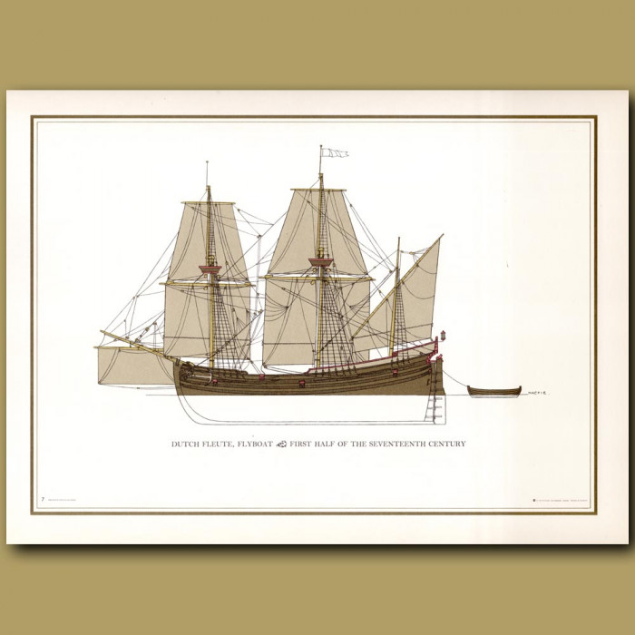 Dutch Flyboat from 17th century: Genuine antique print for sale.