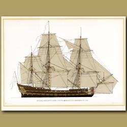 Swedish ship Gota Lejon, 72 guns, built at Carlscrona in 1746