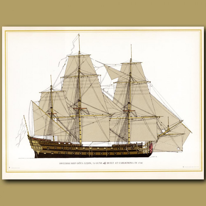 Swedish ship Gota Lejon, 72 guns, built at Carlscrona in 1746: Genuine antique print for sale.