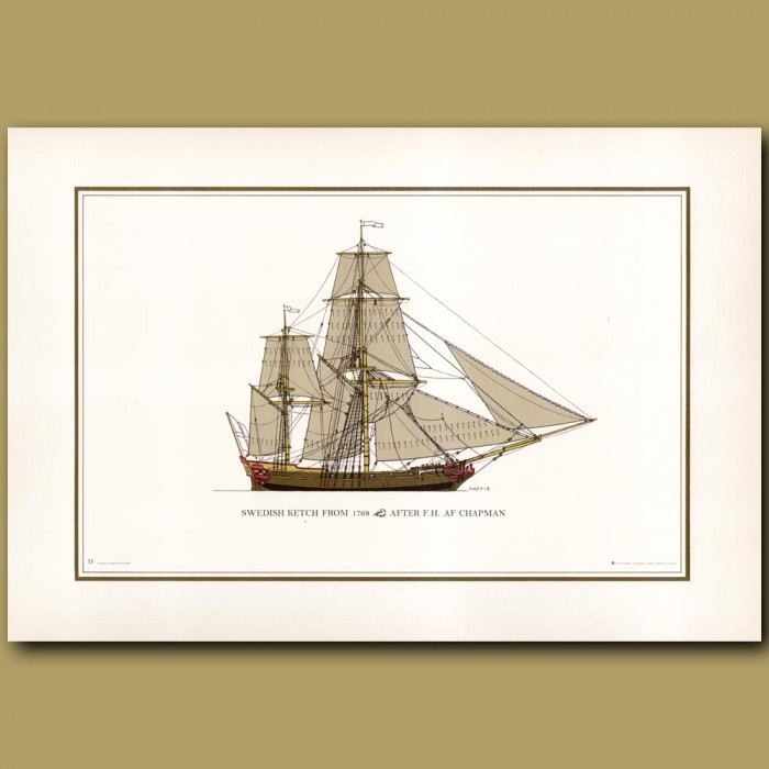 Swedish ketch from 1768: Genuine antique print for sale.