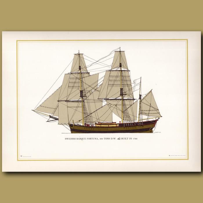 Swedish barque Fortuna, 300 tones: Genuine antique print for sale.