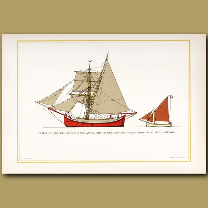 Turkish Caique, trader in the Aegean Sea: Genuine antique print for sale.