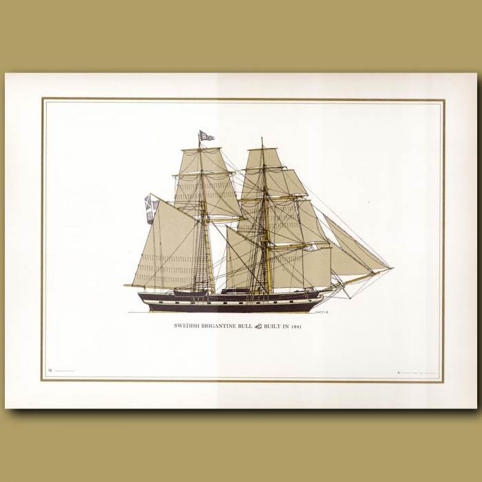 Swedish Brigantine Bull: Genuine antique print for sale.