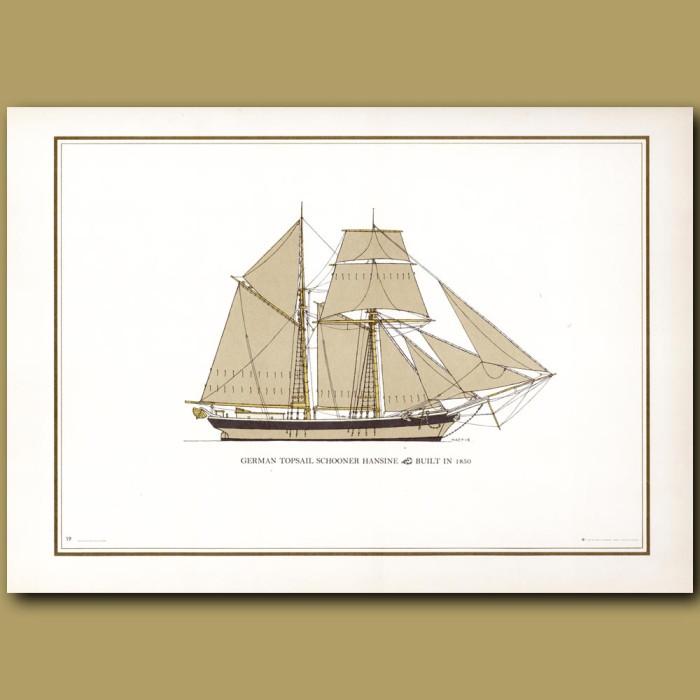German Topsail schooner Hansine: Genuine antique print for sale.