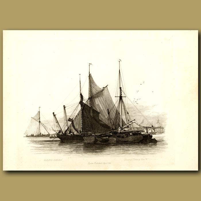 Antique print. Sailing Barges