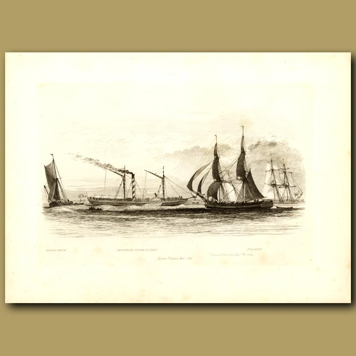 Antique print. Sailing Barge, Gravesend Steam Packet And Colliers (Cargo Ship Designed To Carry Coal)