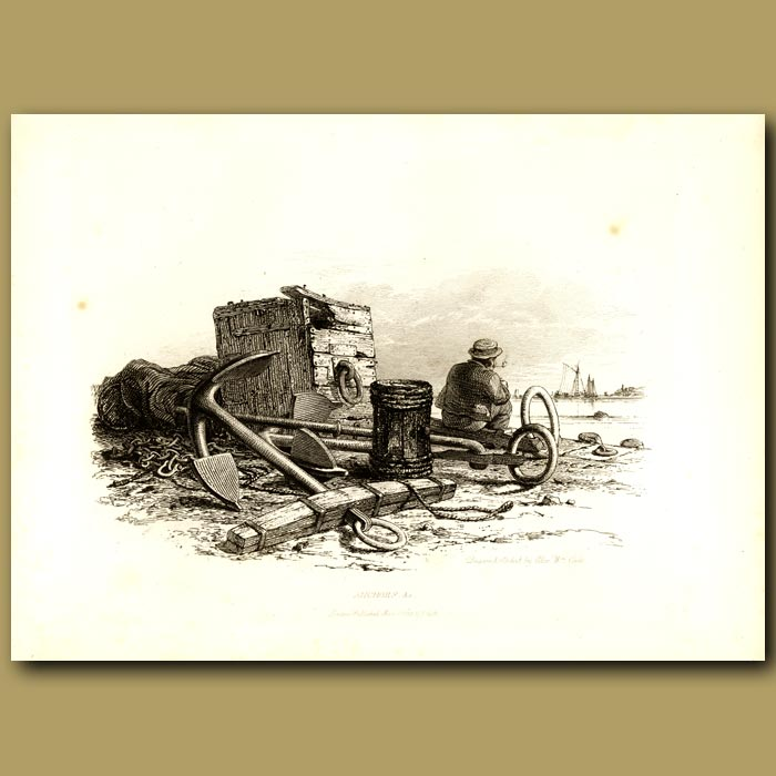 Antique print. Anchors