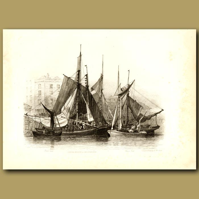 Antique print. Oyster Boats At Billingsgate
