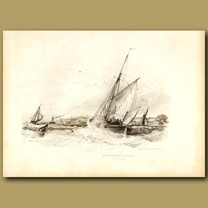 Antique print. Hatch Boat (double Reefed) Off Gravesend