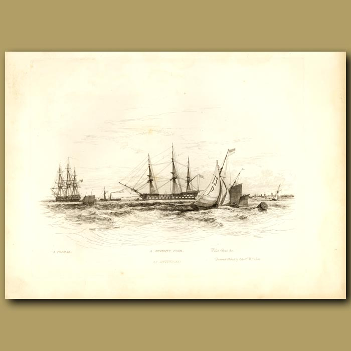 Antique print. A Frigate, A Seventy Four And A Pilot Boat At Spithead