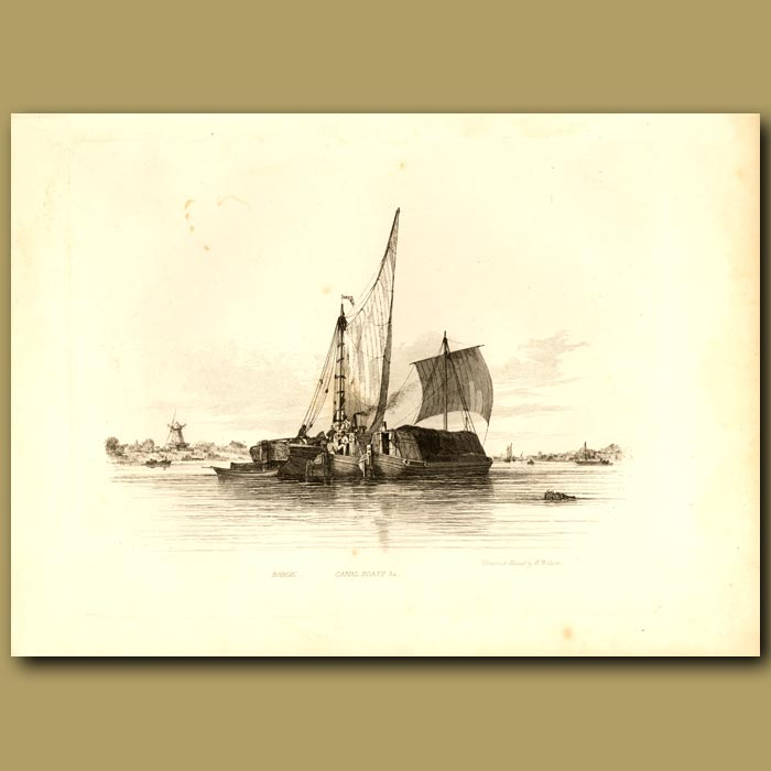 Antique print. Barge And Canal Boats