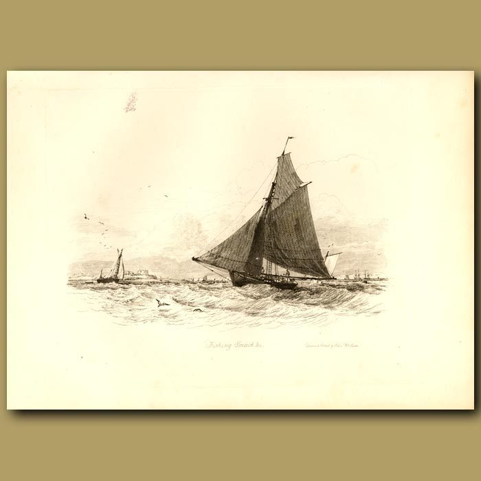Antique print. Fishing Smack