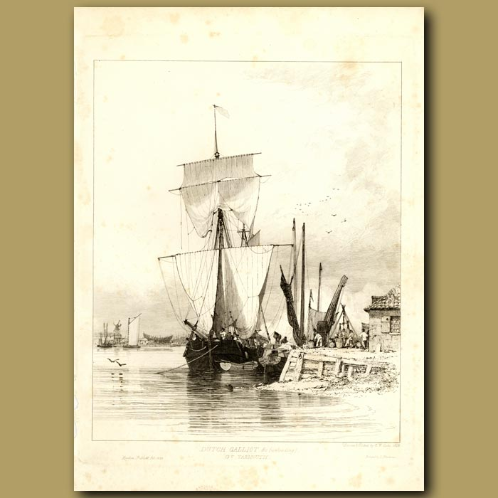 Antique print. Dutch Gailliot Unloading At Great Yarmouth