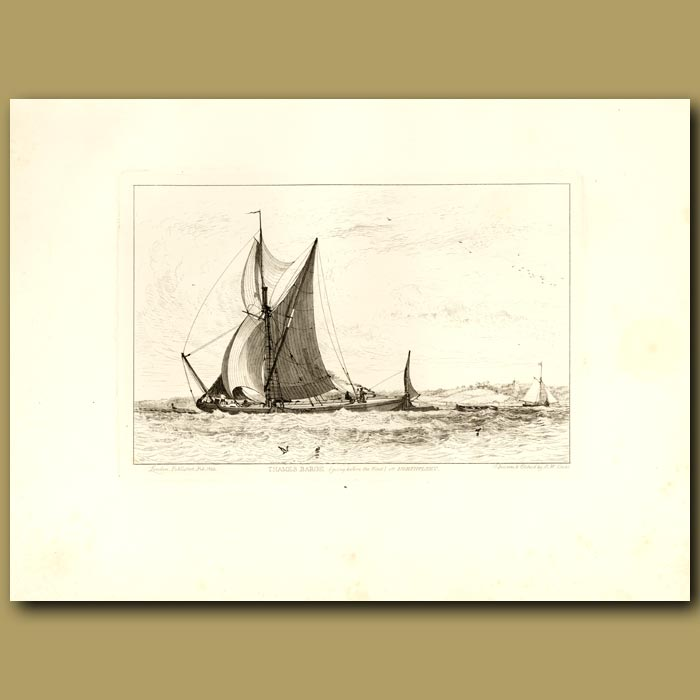 Antique print. Thames Barge, Going Before The Wind, Off Northfleet