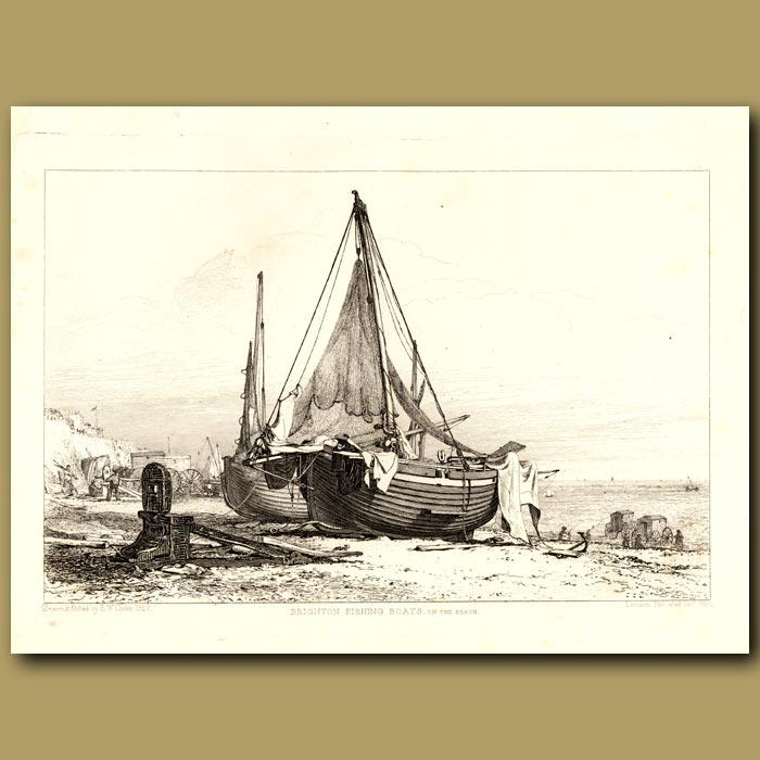Antique print. Brighton Fishing Boats On The Beach