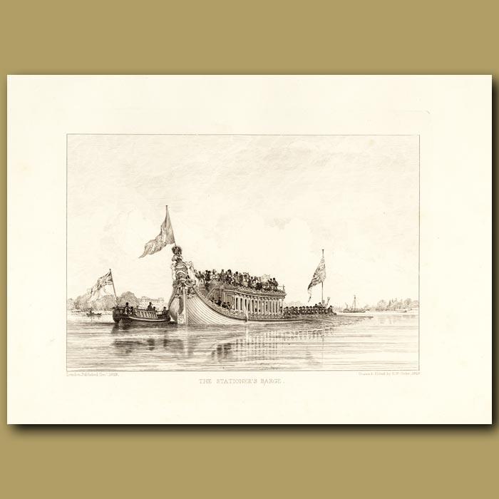 Antique print. The Stationer's Barge