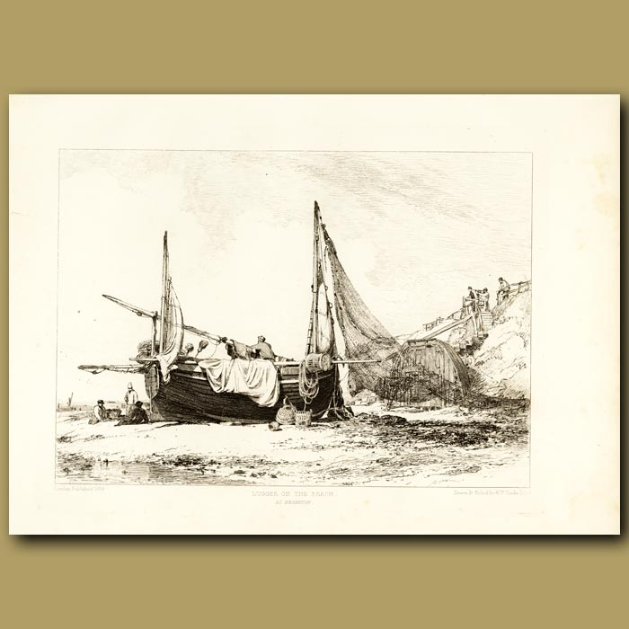 Antique print. Lugger On The Beach At Brighton