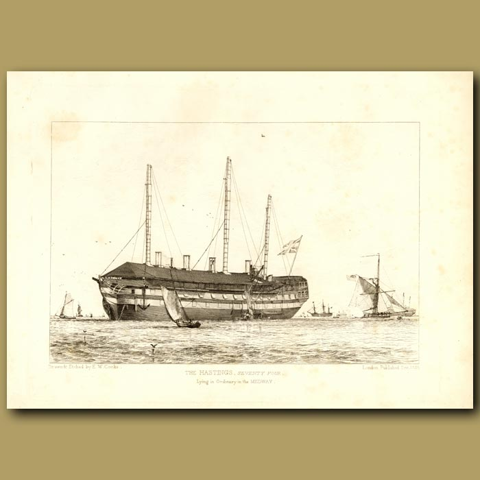 Antique print. The Hastings, Seventy Four, Lying In Ordinary In The Medway