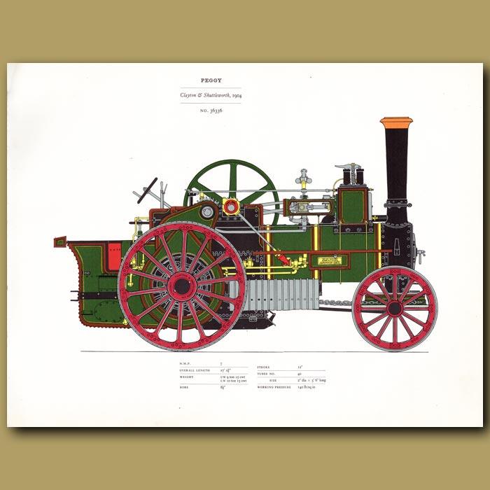 Antique print. Steam Engine Peggy 1904