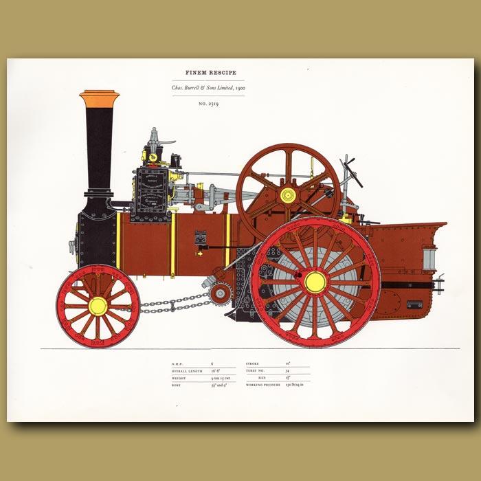 Antique print. Steam Engine Finem Respice 1900