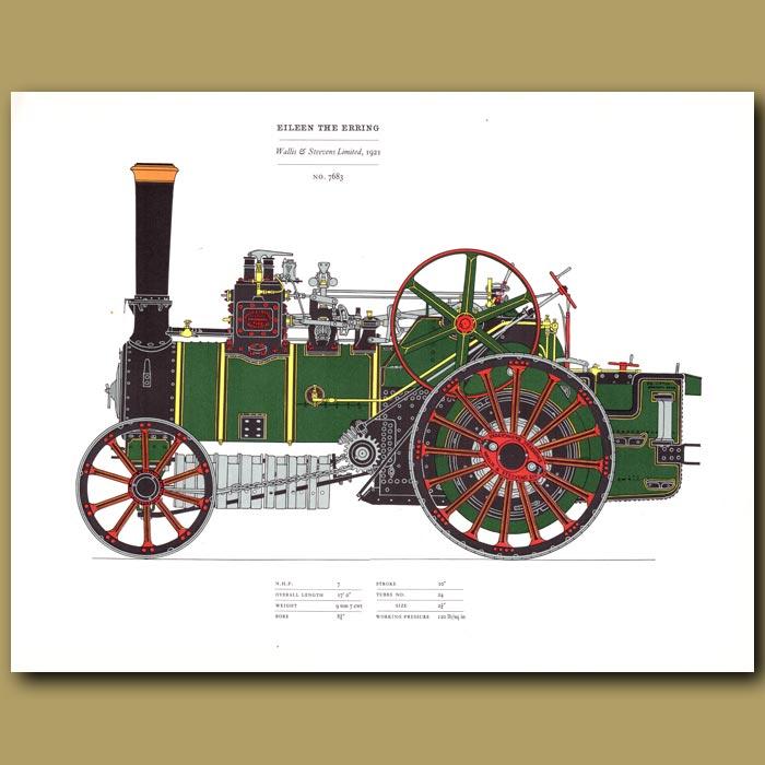 Antique print. Steam Engine Eileen the Erring 1921